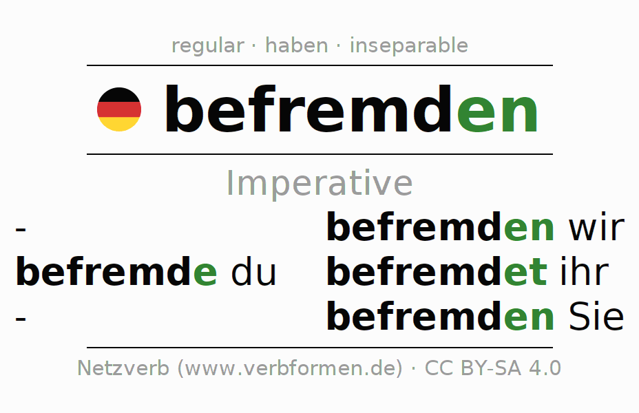 Imperative befremden (cause disconcertment, …)   forms
