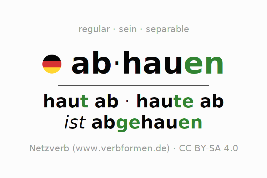 Conjugation of German verb abhauen (regelm) (ist)