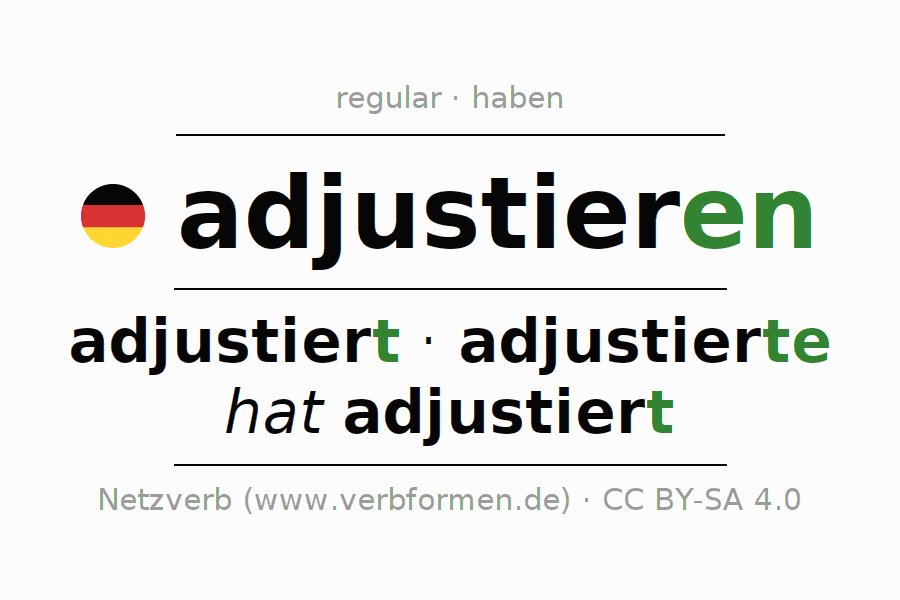 Conjugation of German verb adjustieren