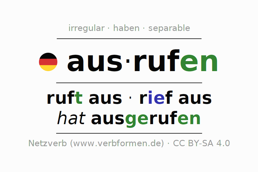 Entire conjugation of the German verb ausrufen. All tenses and modes are clearly represented in a table.