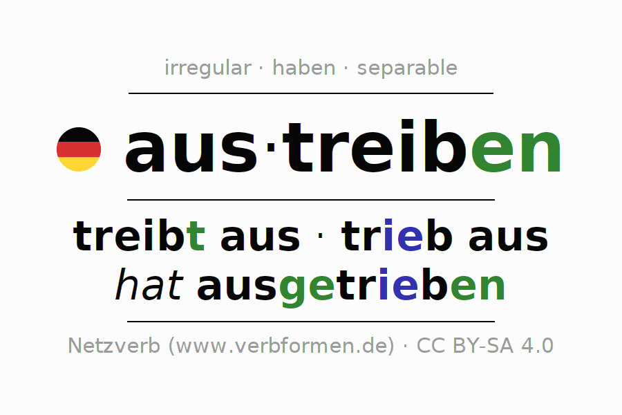 Entire conjugation of the German verb austreiben. All tenses are clearly represented in a table.