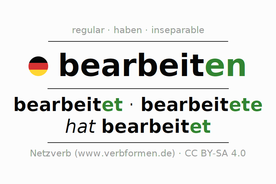 Conjugation of German verb bearbeiten