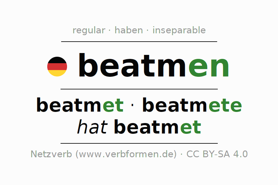 Entire conjugation of the German verb beatmen. All tenses and modes are clearly represented in a table.
