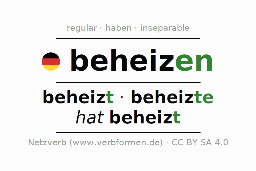 Entire conjugation of the German verb beheizen. All tenses are clearly represented in a table.