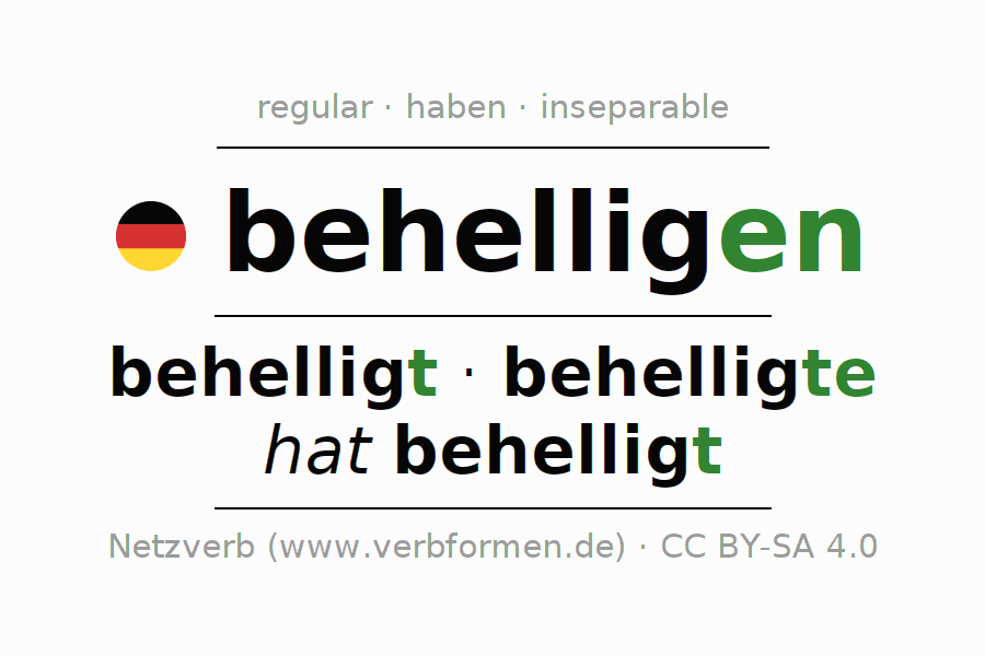 Entire conjugation of the German verb behelligen. All tenses are clearly represented in a table.