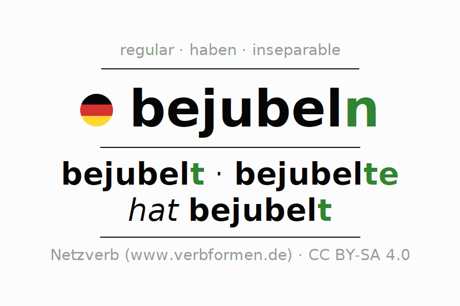 Entire conjugation of the German verb bejubeln. All tenses and modes are clearly represented in a table.