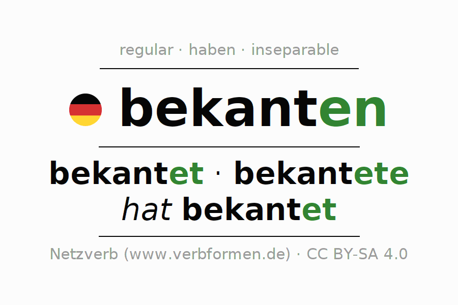 Entire conjugation of the German verb bekanten. All tenses are clearly represented in a table.