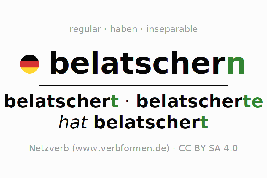 Entire conjugation of the German verb belatschern. All tenses are clearly represented in a table.