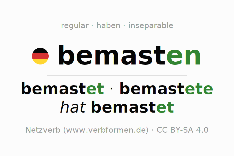 Conjugation of German verb bemasten