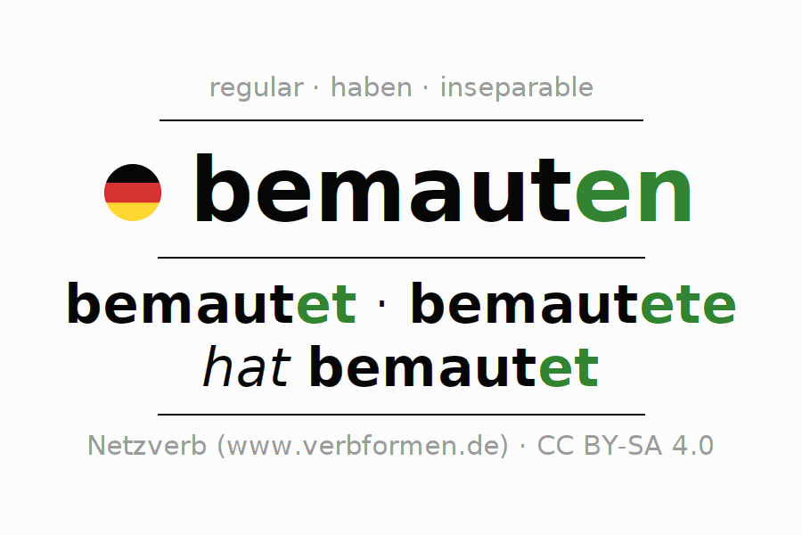 Entire conjugation of the German verb bemauten. All tenses are clearly represented in a table.