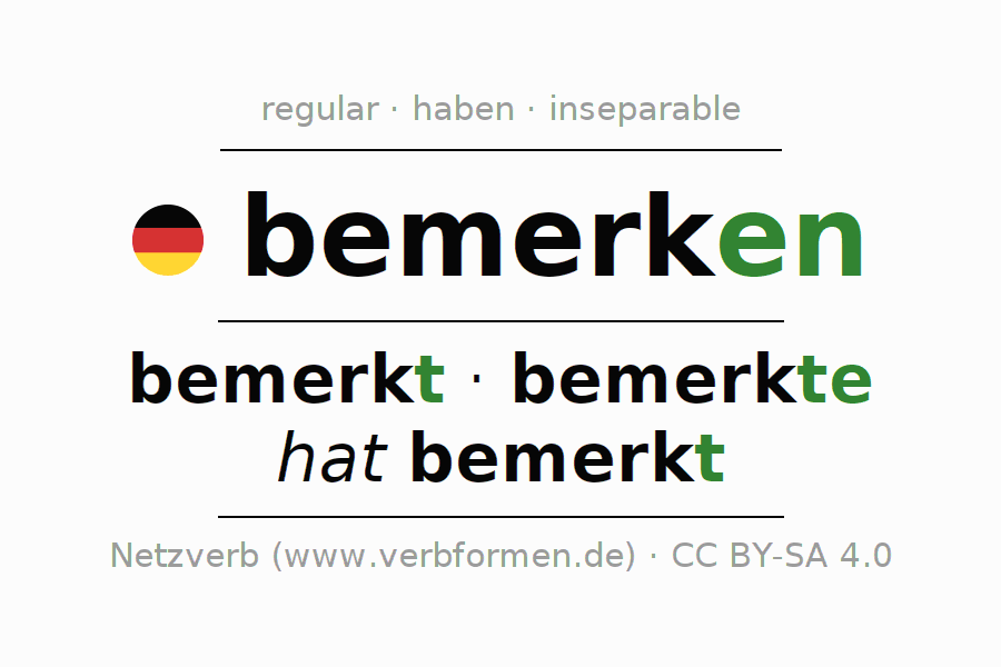 Conjugation of German verb bemerken