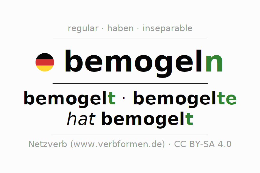Entire conjugation of the German verb bemogeln. All tenses are clearly represented in a table.