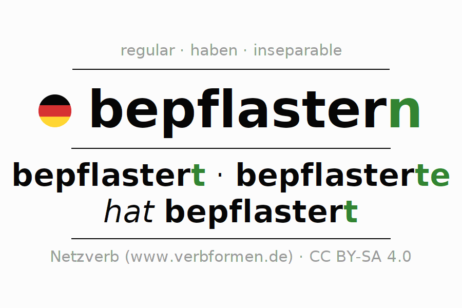Entire conjugation of the German verb bepflastern. All tenses are clearly represented in a table.