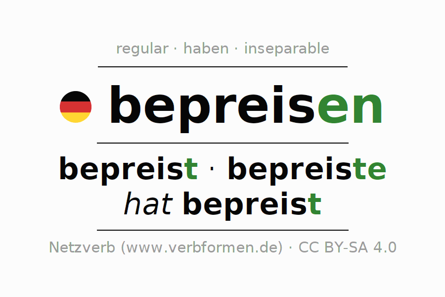 Conjugation of German verb bepreisen