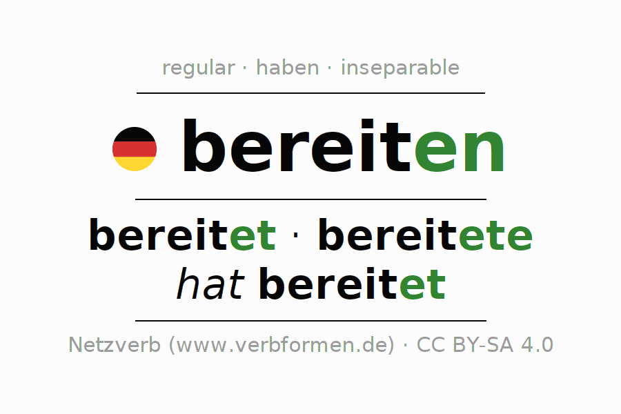Conjugation of German verb bereiten (regelm)
