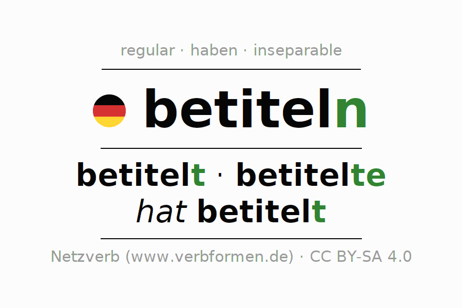 Entire conjugation of the German verb betiteln. All tenses and modes are clearly represented in a table.