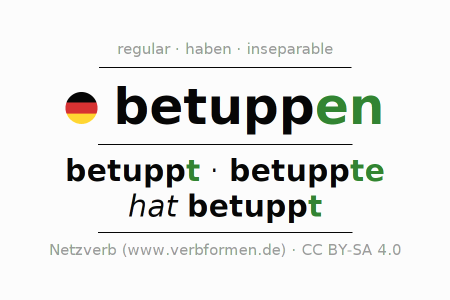 Entire conjugation of the German verb betuppen. All tenses and modes are clearly represented in a table.