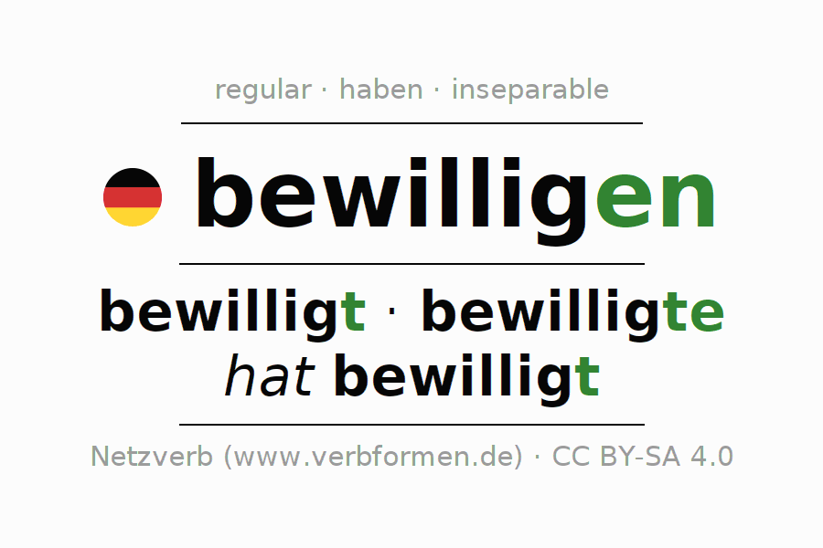 Entire conjugation of the German verb bewilligen. All tenses are clearly represented in a table.