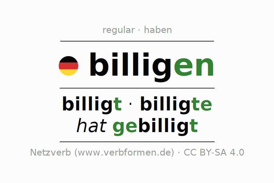Entire conjugation of the German verb billigen. All tenses are clearly represented in a table.