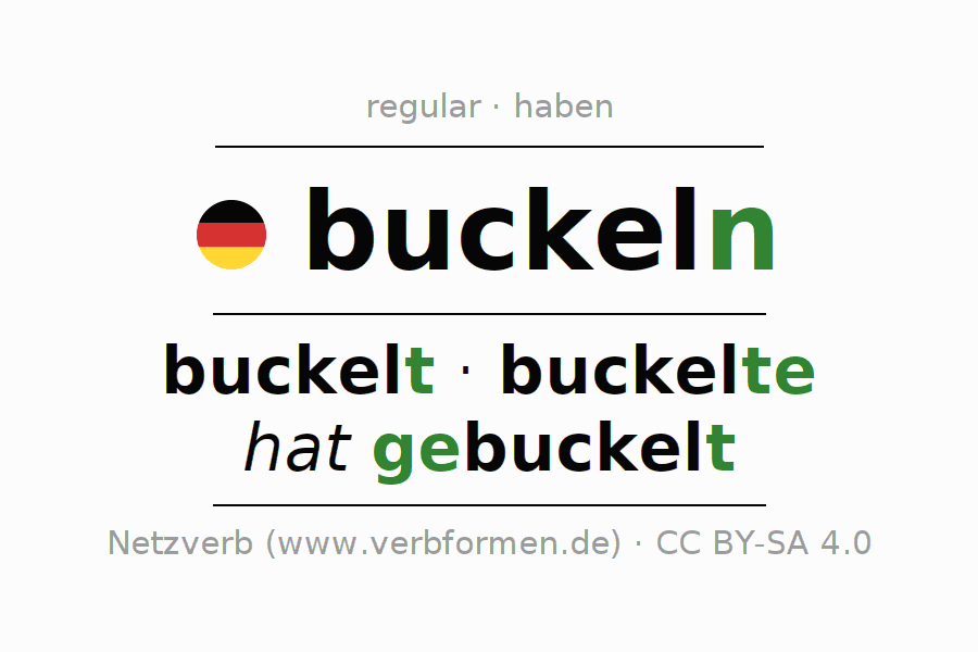Entire conjugation of the German verb buckeln. All tenses and modes are clearly represented in a table.