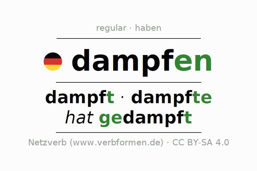 Conjugation of German verb dampfen (hat)