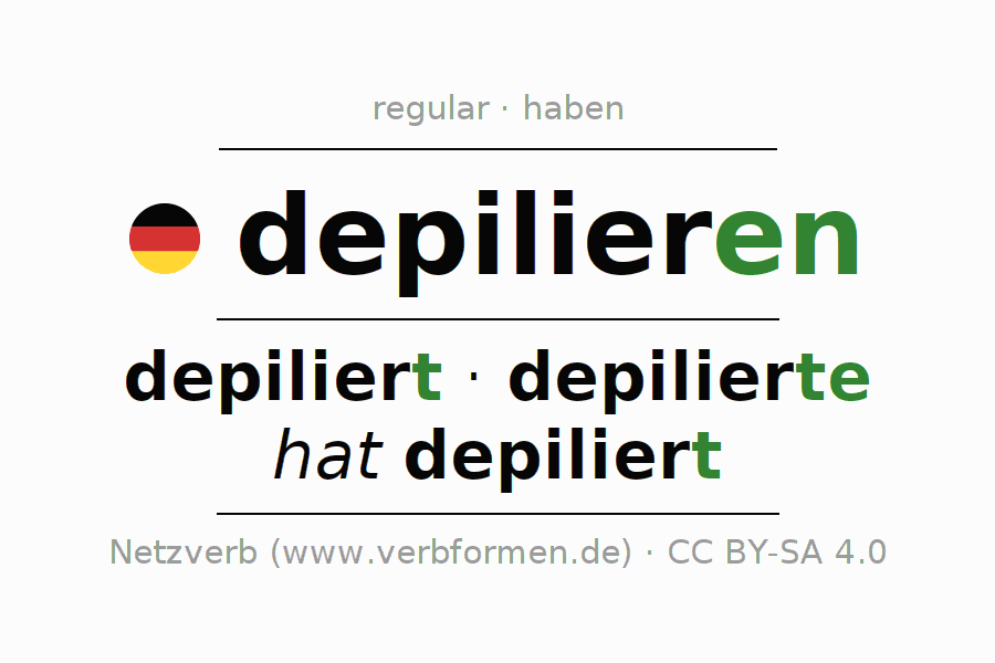 Entire conjugation of the German verb depilieren. All tenses and modes are clearly represented in a table.
