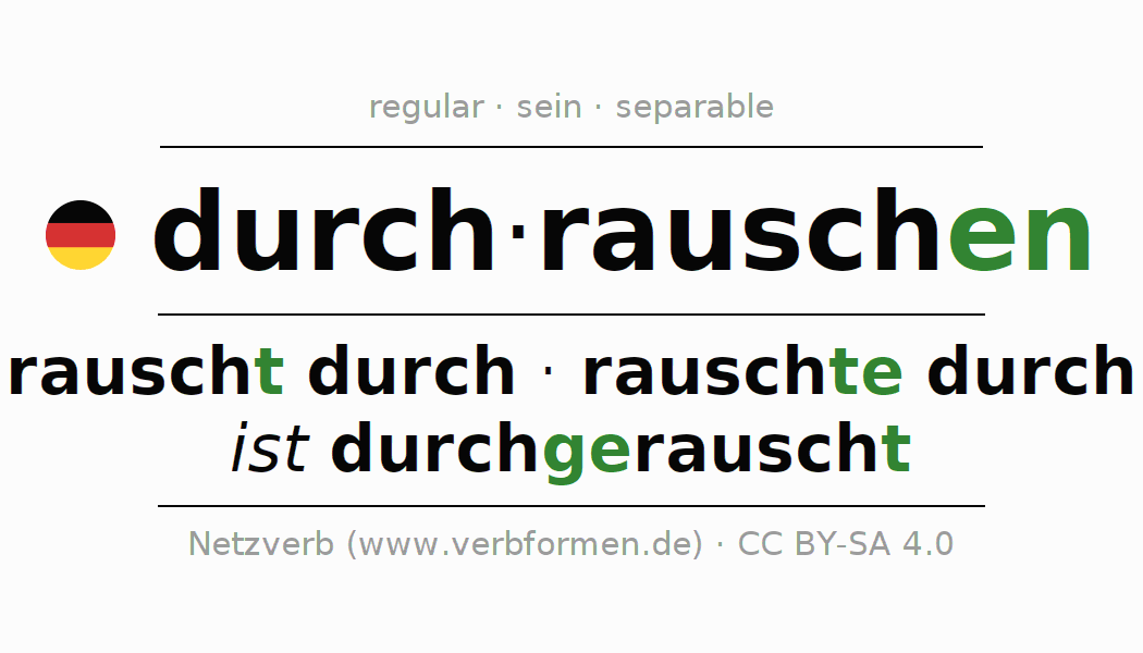 Entire conjugation of the German verb durch-rauschen (ist). All tenses are clearly represented in a table.