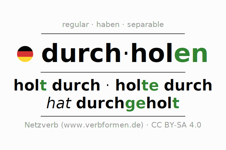 Entire conjugation of the German verb durchholen. All tenses and modes are clearly represented in a table.