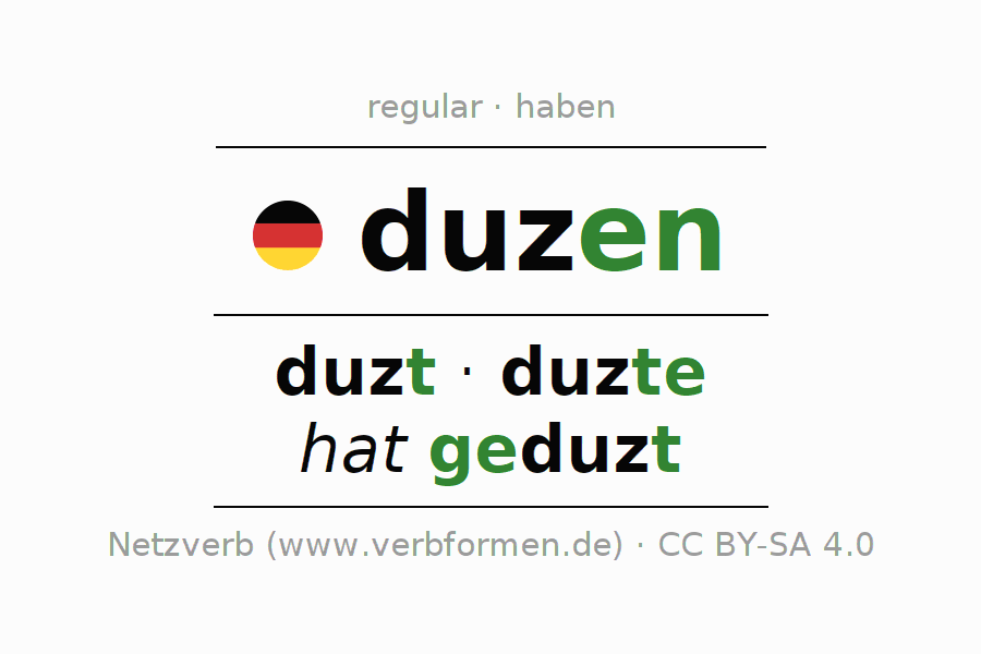 Entire conjugation of the German verb duzen. All tenses and modes are clearly represented in a table.
