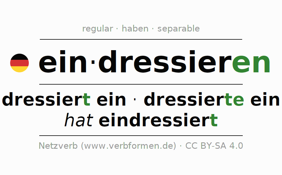Entire conjugation of the German verb eindressieren. All tenses are clearly represented in a table.