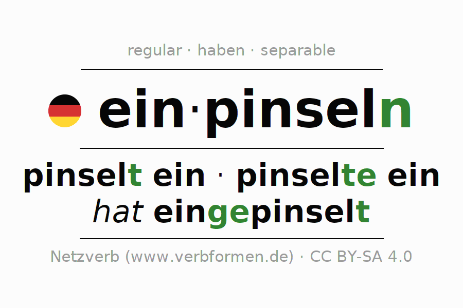 Conjugation of verb einpinseln