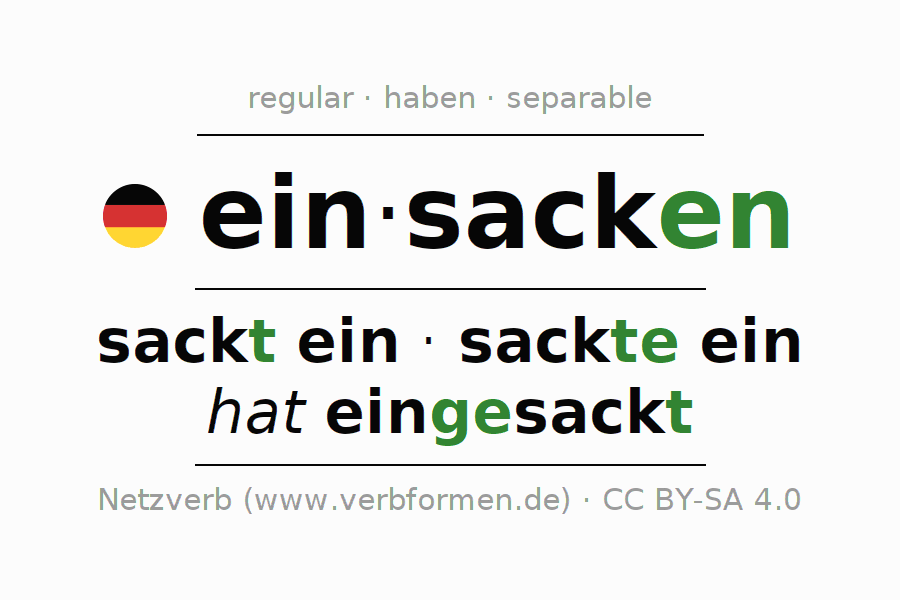 Entire conjugation of the German verb einsacken (ist). All tenses and modes are clearly represented in a table.
