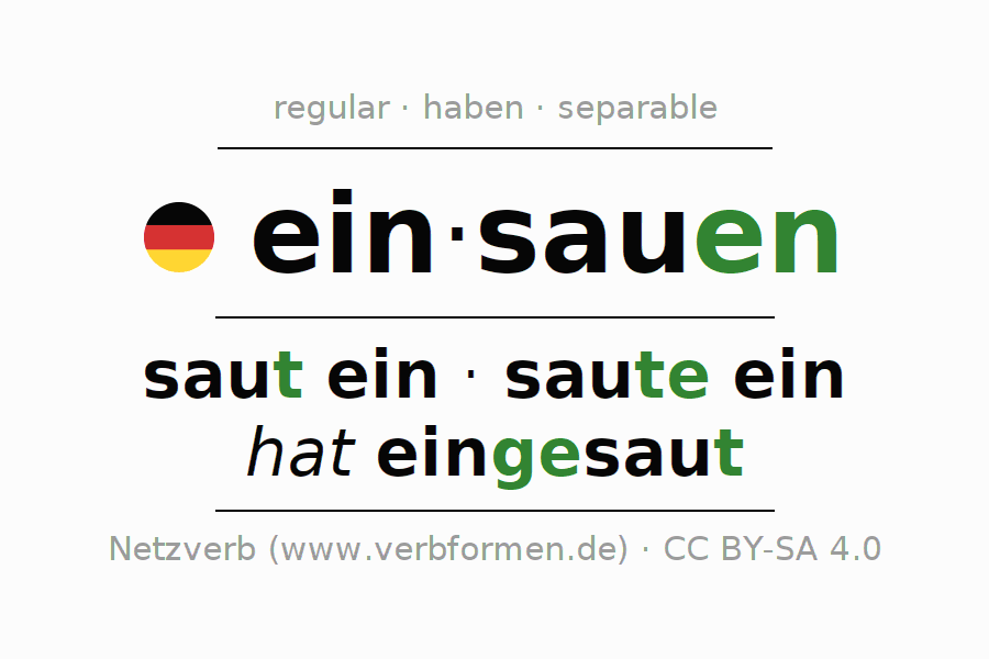 Entire conjugation of the German verb einsauen. All tenses and modes are clearly represented in a table.