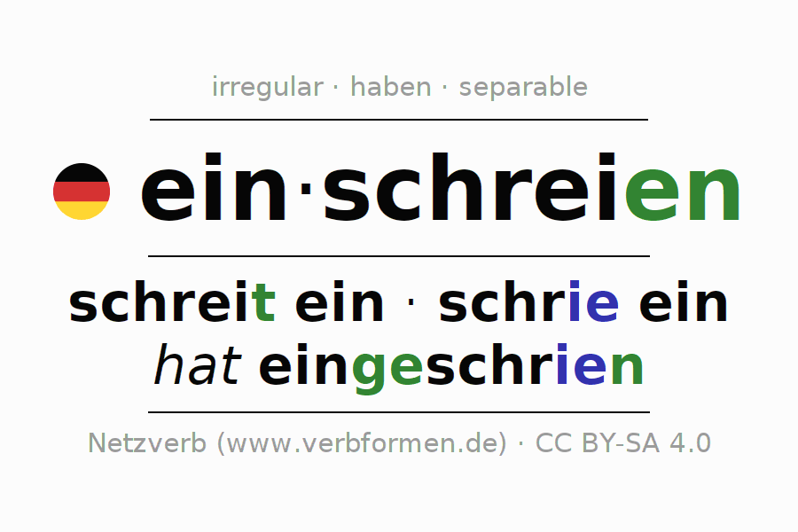 Conjugation of German verb einschreien