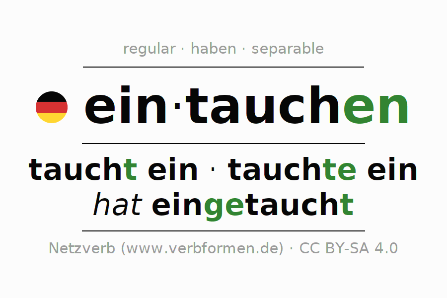 Conjugation of German verb eintauchen (hat)