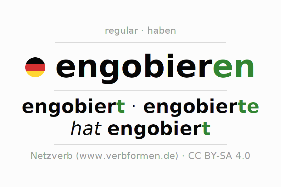 Entire conjugation of the German verb engobieren. All tenses are clearly represented in a table.
