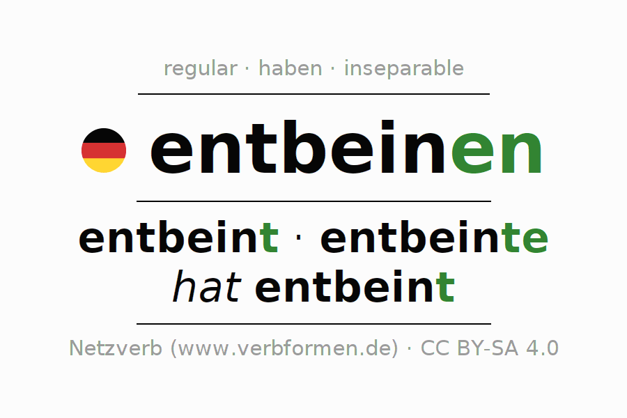 Entire conjugation of the German verb entbeinen. All tenses are clearly represented in a table.