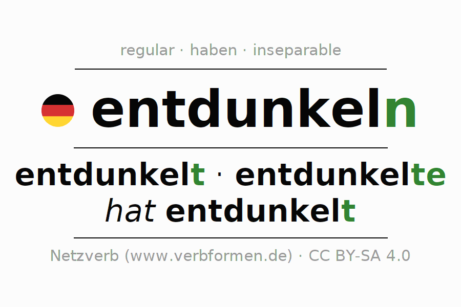 Entire conjugation of the German verb entdunkeln. All tenses are clearly represented in a table.