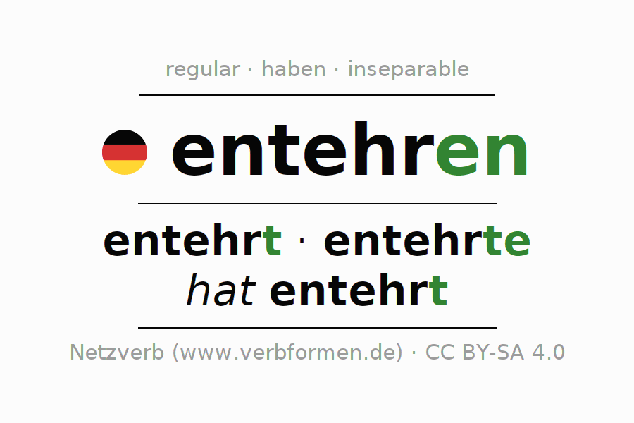 Entire conjugation of the German verb entehren. All tenses and modes are clearly represented in a table.