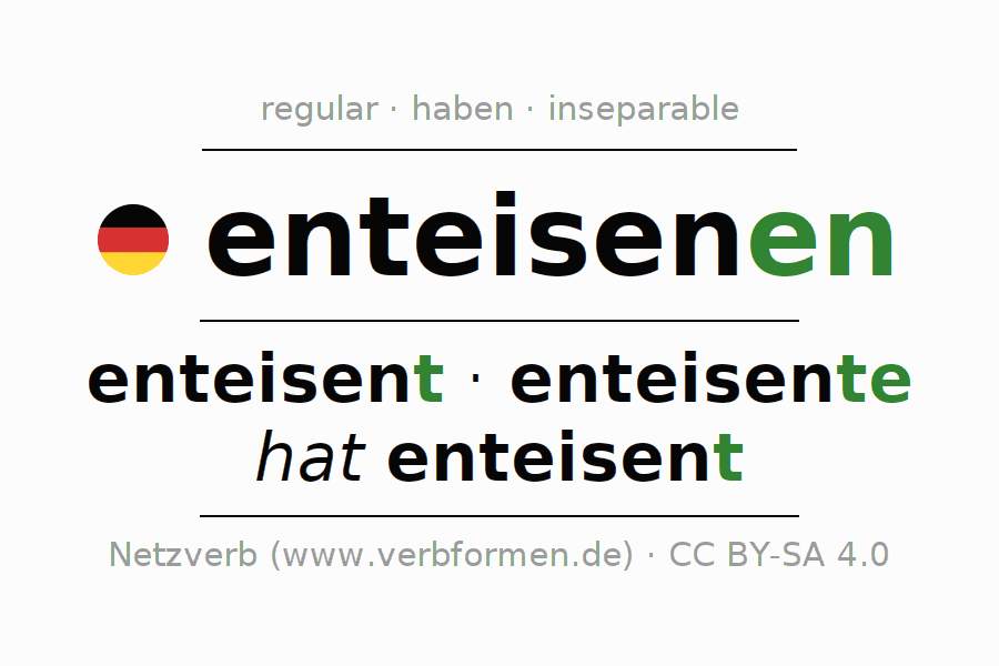 Entire conjugation of the German verb enteisenen. All tenses are clearly represented in a table.