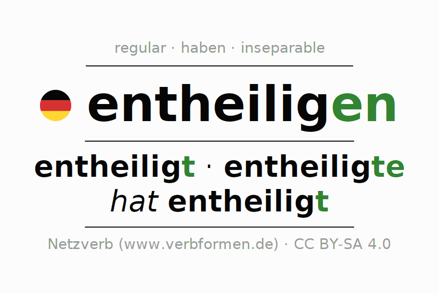 Entire conjugation of the German verb entheiligen. All tenses are clearly represented in a table.