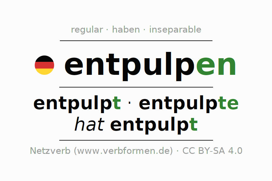 Entire conjugation of the German verb entpulpen. All tenses are clearly represented in a table.