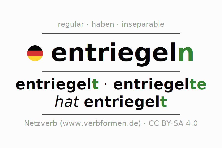 Entire conjugation of the German verb entriegeln. All tenses are clearly represented in a table.