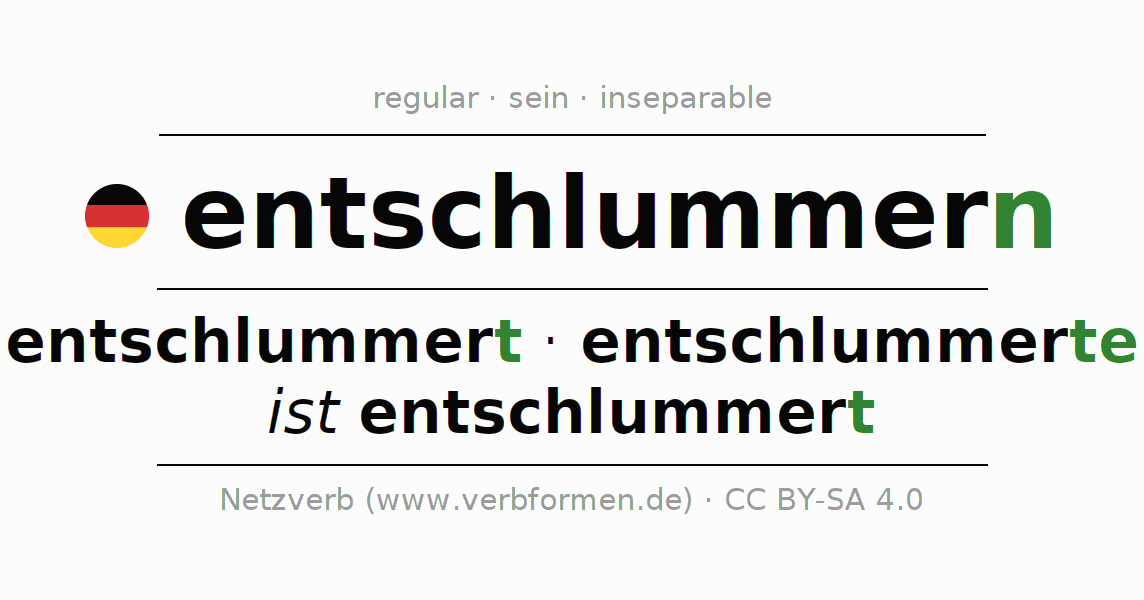 Conjugation of German verb entschlummern