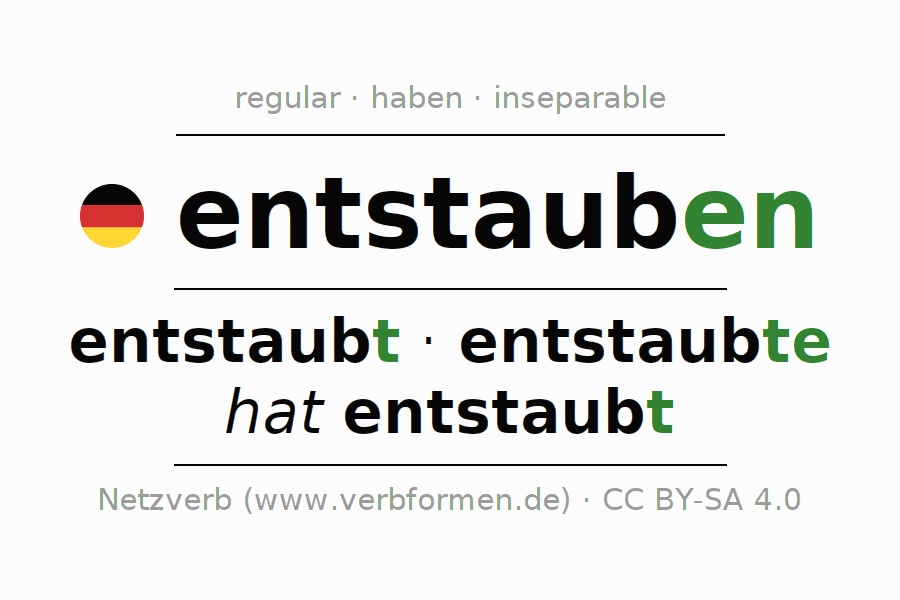 Conjugation of German verb entstauben