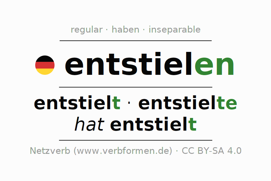 Entire conjugation of the German verb entstielen. All tenses are clearly represented in a table.