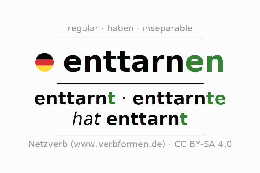Entire conjugation of the German verb enttarnen. All tenses are clearly represented in a table.
