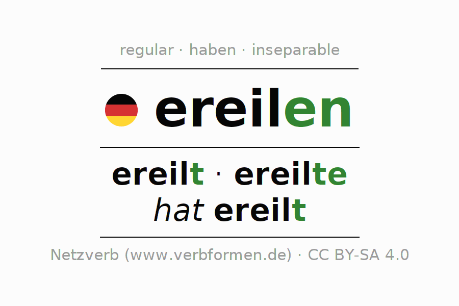 Entire conjugation of the German verb ereilen. All tenses are clearly represented in a table.