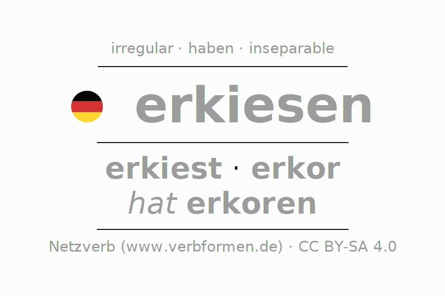 Entire conjugation of the German verb erkiesen. All tenses are clearly represented in a table.