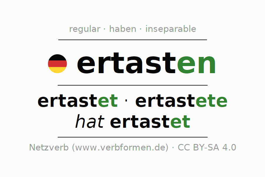 Entire conjugation of the German verb ertasten. All tenses and modes are clearly represented in a table.